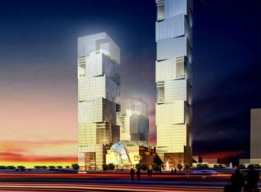 TEDA Towers, Tianjin, China, Atkins Architects, Vertical Wind-Powered Turbines, Sky-Gardens