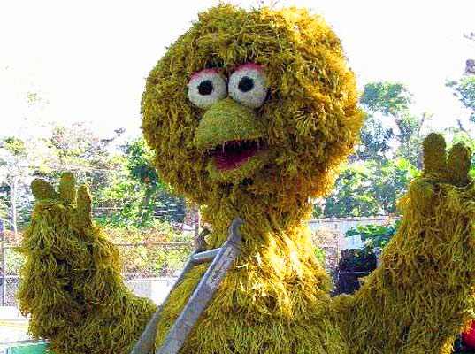 topiary joe, sustainable design, green design, sustainable garden sculptures, green thumb, eco art, big bird, green sculpture, outdoor sculpture, sesame street