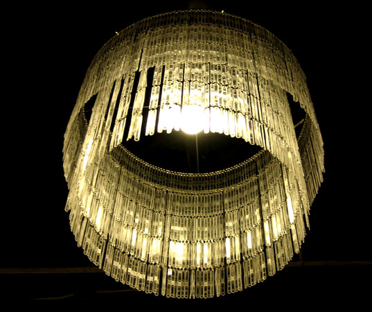 TOUCH NYC, Chandelier made from coffee stirrers, coffee stirrer chandelier, recycled design, reclaimed design, reclaiming design, design re-use, sustainable style, green design, eco design, sustainable style, Brazilian design