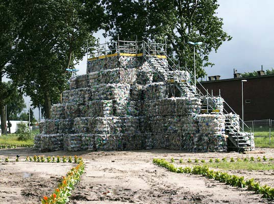 sustainable design, green building, recycled materials, trash temple, salzig, rotterdam, netherlands