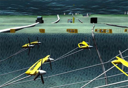 Underwater power-generating ocean turbines, ocean turbines, oocean current turbines, turbines, water, ocean, electricity, generator, generating, university of florida, center of excellence in Ocean Energy Technology