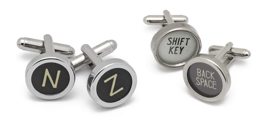 inhabitat holiday gift guide, for him green gift guide, green christmas gifts, sustainable design, green fashion, green gifts for guys, typewriter cufflinks