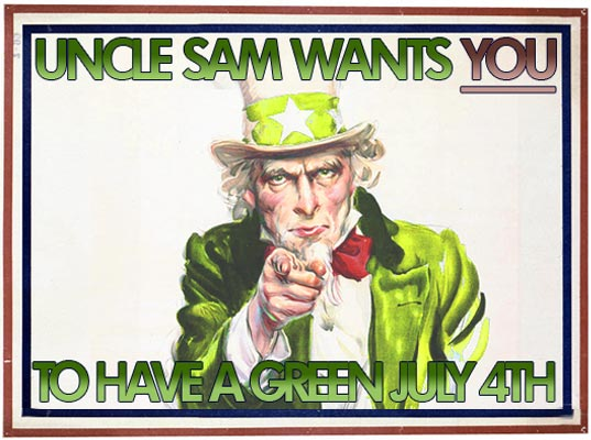 uncle sam wants you to have a green 4th of july, green independence day, eco-friendly july 4th, sustainable july fourth, green celebration, green bbq, green party