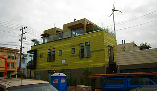 Urban Wind Turbine in San Francisco, Skystream Residential Wind Turbine, La Casa Verde, Sunset Magazine Idea House, sunset idea house, san francisco, green, leed, urban, wind turbine, la casa verda