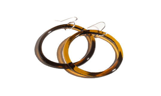 eco jewelry, recycled glass earrings, recycled glass jewelry, glass hoop earrings