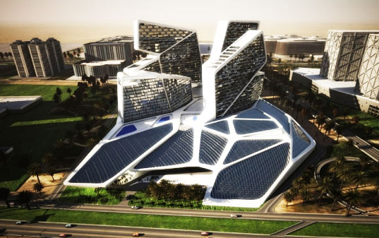 Graft lab s vertical village in dubai has spider web of solar panels