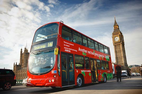 sustainable design, green design, volvo, hybrid double decker bus, london, fuel efficient vehicle