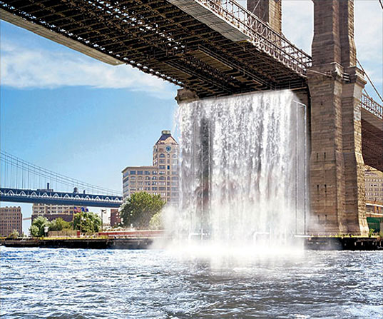 Olafur Eliasson, NYC Waterfalls, Olafur Eliasson Waterfalls, East River Waterfalls, NYC environmental art, environmental sculpture, waterfalls New York Harbor, Eliasson public works, Public Art Fund, NYC public art