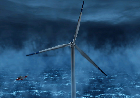 wind turbines, north sea, norsk hydro, siemens, floating, render, photographs, testing, model
