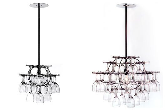 Wine Glass Chandelier, Glasklasen, Ljusklasen, Form Nasielsky, Chandelier Made From Wine Glasses