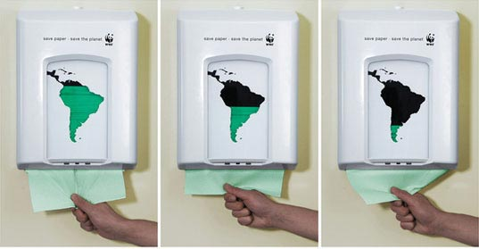 WWF, World Wildlife Federation, south america, paper dispenser, rising sea levels, billboard, wwf_paper2.jpg