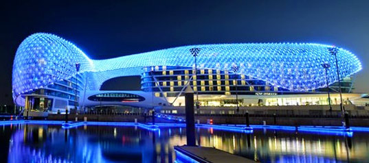 World s largest led project completed in abu dhabi for Asymptote architecture yas hotel