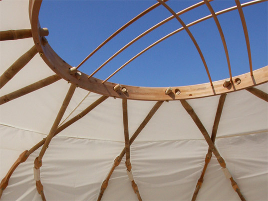 Ecoshack, nomad yurt, joshua tree design, Mongolian yurt, sustainable materials, bamboo structure, bamboo, prefabricated housing, tent, versatile housing